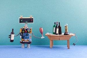 Funny robot gets drunk. Wine party celebration event concept. Creative design cyborg with wine glass and bottle. Wooden table, spirits, green wall blue floor interior.