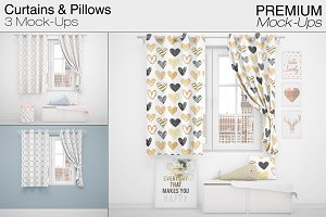Curtains & Pillows Set