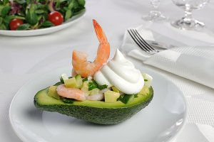 tender appetizer of avocado