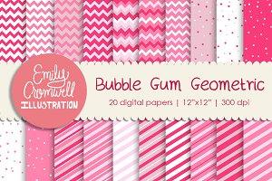 Bubble Gum Geometric Digital Papers