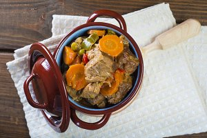 Veal ragout in a porcelain casserole