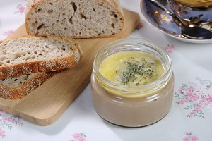 Jar with chicken pate