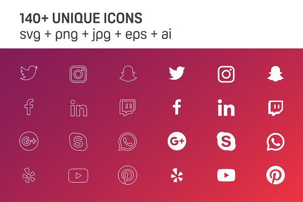 140+ Essential Social Icons