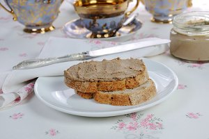 Chicken liver pate on bread