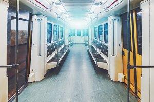 Cab of underground train inside