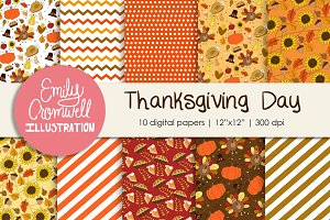 Thanksgiving Day Digital Papers