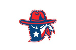 Texan Outlaw Texas Flag Mascot