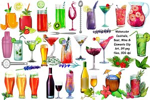 Watercolor Cocktails, Wine & Beer