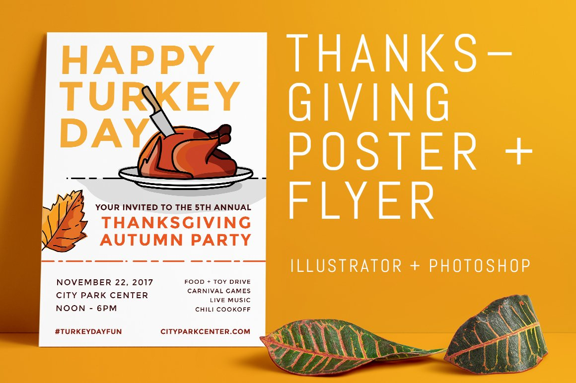 thanksgiving fall event poster flyer flyer templates creative market. Black Bedroom Furniture Sets. Home Design Ideas