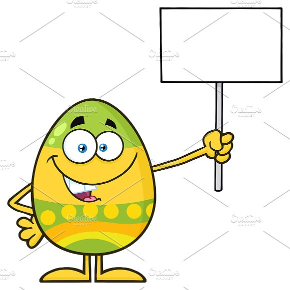 Colored Egg Holding A Blank Sign