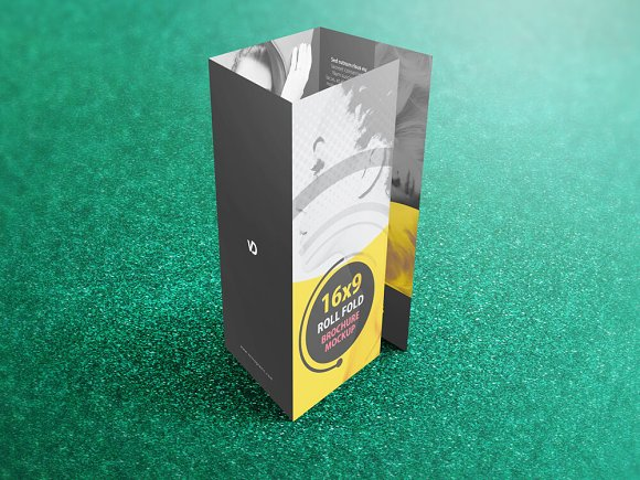 Download Download 16x9 Four Panel Roll Fold Mockup - Download PSD ...