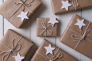 Christmas presents and Star Gift tag