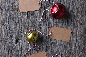 Sleigh bells and blank gift tags