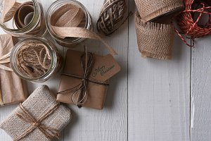 Plain paper wrapped Christmas Gifts