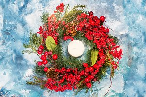 Christmas wreath on stone background