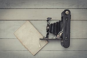 Antique photography camera and noteb