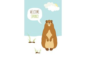 Cute Groundhog Day card as funny cartoon character of marmot