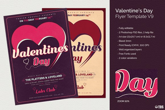 Valentines Day Flyer Template V9 Flyer Templates Creative Market