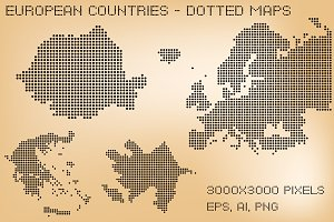 European countries - dotted maps