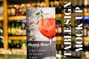 Happy Hour Table Sign Mockups