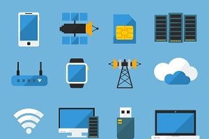 Wireless Technology Flat Icons Set