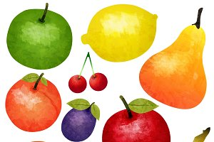 Watercolor Ripe Fruit Set