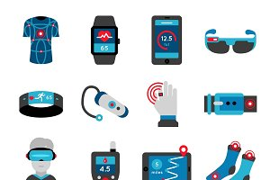 Smart Technology Flat Icons Set