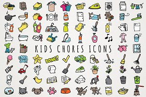 Fun Hand Drawn Kids Chores Icons Set