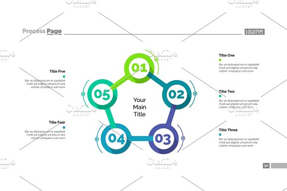 Cycle Flowchart With Five Elements Slide Textures Creative Market