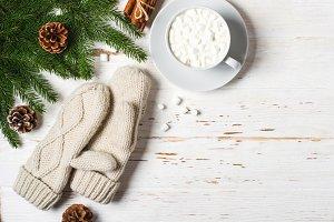 cozy Winter background. cup of cocoa with marshmallow, mittens and fir branches