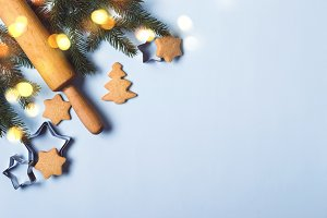 Christmas food background, holiday traditional gingerbread cookies