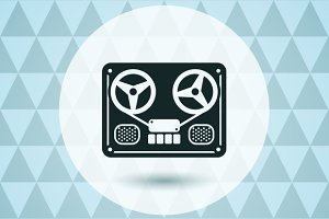 Reel tape deck recorder logo icon