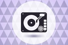 Disk jockey vinyl turntable logo