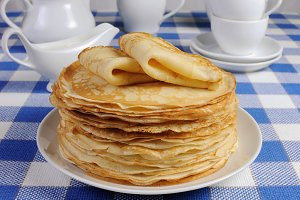 stack of pancakes on the table