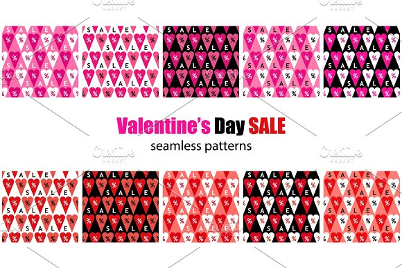 Set Of Eye Catching Valentine's Day Sale Seamless Patterns With Percent Symbols