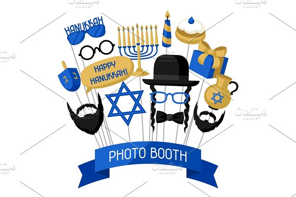 Happy Hanukkah Photo Booth Props Accessories For Festival And Party