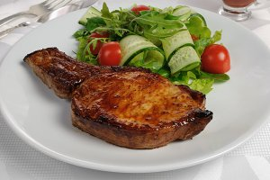 Grilled steak with vegetables  bone