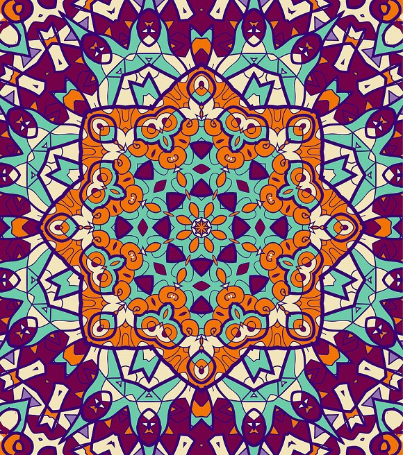 Bright coloured seamless mandala in Illustrations