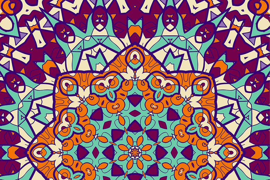 Bright coloured seamless mandala in Illustrations - product preview 8