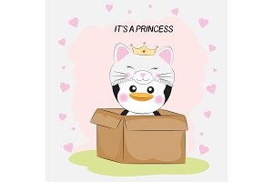 Cute little penguin princess in a box. on white background with hearts.