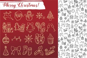 Xmas doodle icons + patterns