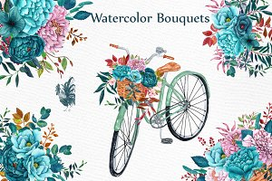 Watercolor floral bicycle clipart