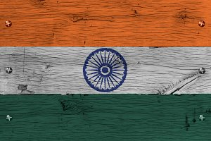 India national flag painted old oak wood fastened