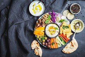 Meze platter with hummus