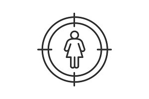 Aim on woman silhouette linear icon