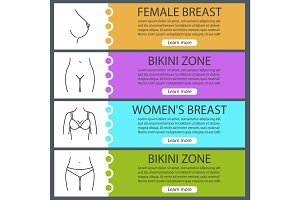 Women's body parts web banner templates set