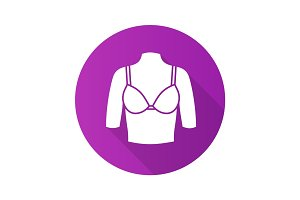 Female breast flat design long shadow glyph icon