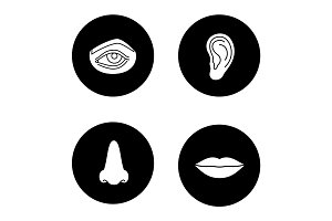 Facial body parts glyph icons set