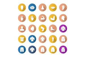 Body parts flat design long shadow glyph icons set