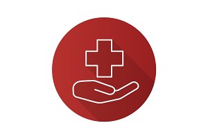 Medical care flat linear long shadow icon